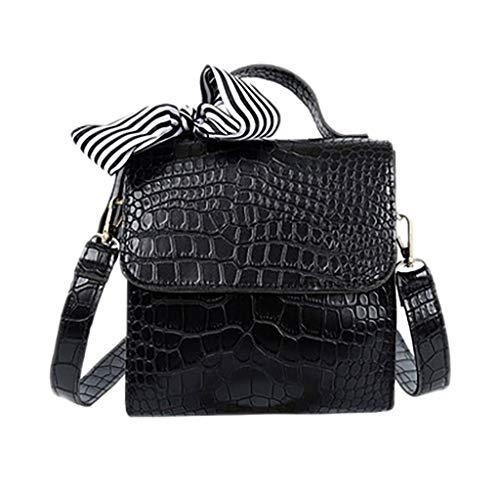 VonVonCo Backpack Diaper Bag Vintage Women New Crocodile Pattern Handbag Messenger Scarf Shoulder Bag (Scarf Coach Brown)