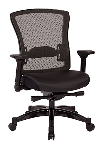Accents Finish Gunmetal - SPACE Seating Professional R2 SpaceGrid Back Chair with Padded Memory Foam Eco Leather Seat, 2-to-1 Synchro Tilt Control, 4-Way Adjustable Flip Arms, and Gunmetal Finish Accents Managers Chair, Black