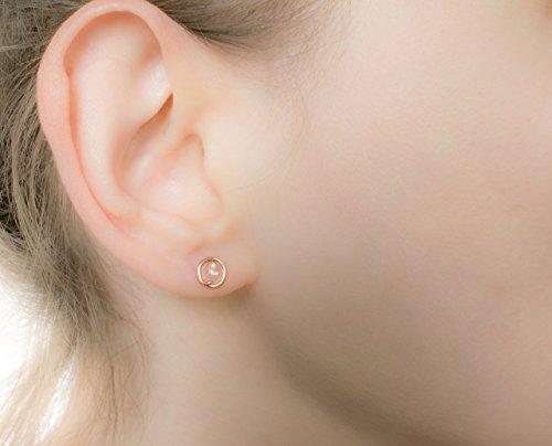 Quartz Bead Rose Earrings (Tiny Rose Quartz Earrings 14k Rose Gold Filled Studs Round Circle Handmade)