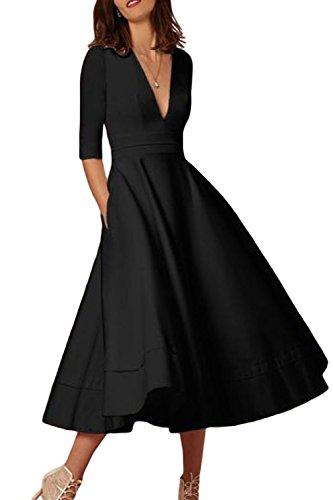 da80cc7887 Frauen Elegant Tiefe V - 3 / 4 - Ärmel Swing - Party Im Ballkleid Black