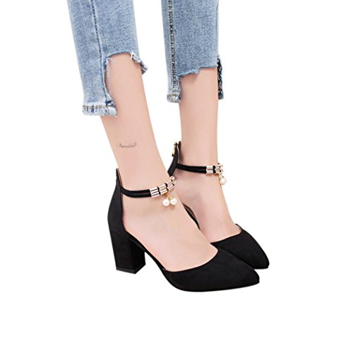 FORUU Women Rhinestone Metal Zipper Pointed Toe Rough with High Heeled Sandals (36, Black) by FORUU womens shoes
