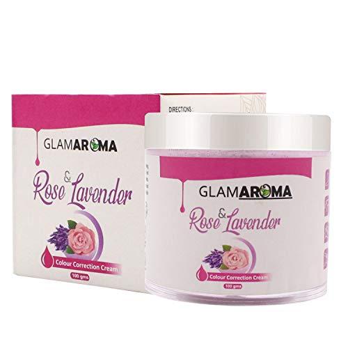 GlamAroma Rose & Lavender Body Color Correction Cream Skin Pigmentation, Sun Damage, Dark Spots Correction Whitening & Lightening Formula for Underarm, Knees, Elbow & Bikini Area, 100g