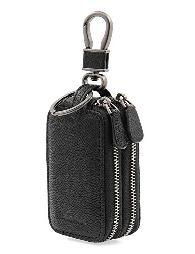 AslabCrew Genuine Leather Car Smart Key Case Chain Keychain Holder Metal Hook and Keyring Double Zippers Bag for Remote Key Fob, Nappa-Black