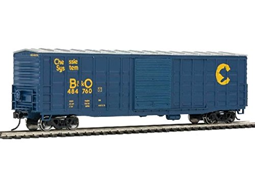 Boxcar Superior Door - 50' WAFFLE-SIDE BOXCAR - READY TO RUN -- CHESSIE SYSTEM B&O 484766 (SUPERIOR DOORS, BLUE, YELLOW)