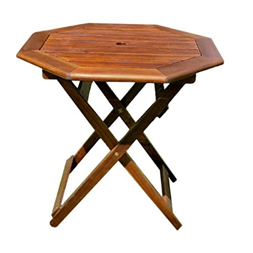 BS Wooden Folding Table Outdoor Patio Deck Furniture Octagonal Top wiith Umbrella Hole Easy Storage Collapsible Table Backyard Lawn Garden Natural Wood Dual Stain Finish & eBook by BADA shop