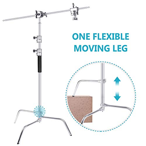 (Neewer Upgraded Heavy Duty Stainless Steel C-Stand with Hold Arm and Grip Head - 58.6-121.6 inches Stand with One Adjustable Leg for Photography Reflectors, Softboxes, Monolights, Umbrellas)