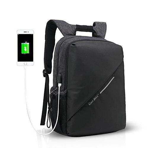 FANDARE 15.6 Zoll Laptoprucksäcke Rucksack Schulrucksack Studenten Daypack USB Port Wasserdicht Polyester Schwarz Schwarz