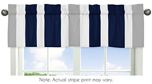 Sweet Jojo Designs Navy Blue, Gray and White Window Treatment Valance for Stripes Bedding Collection