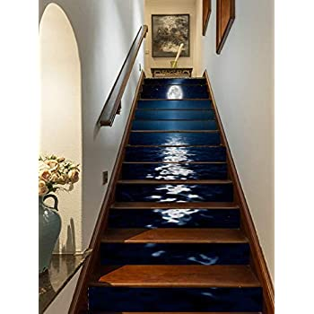 FLFK 3D Bright Moonlight at Sea Staircase Stickers Self-Adhesive Removable Wallpaper Home Decor 39.3