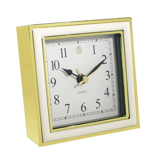 Natico 10-45888W  Alarm Clock, White Enamel and Gold
