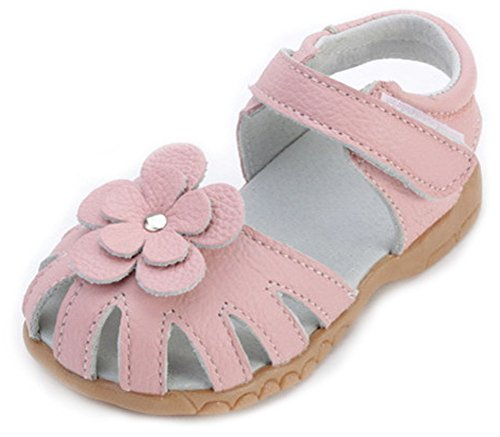 Femizee Girls Genuine Leather Soft Closed Toe Princess Flat Shoes Summer Sandals(Toddler/Little Kid),Pink,1504 CN30 Girls Pink Flower Sandals