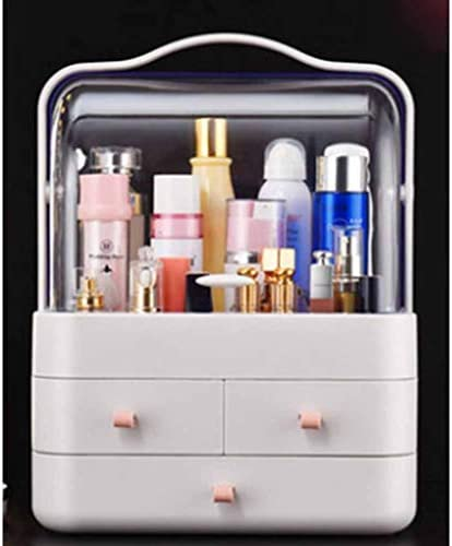 化粧品収納ボックス コスメボックス 透明化粧品ケース 収納ボックス 蓋付き 引き出し コスメ収納 化粧品入れ アクセサリー収納 防塵 防水 強い耐久性 超大容量 39.5*29.5*20.5 グレー ホワイト ピンク
