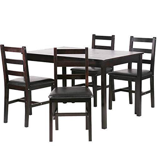 BestMassage Dining Table Set Kitchen Dining Table Set Wood Table and Chairs Set Kitchen Table and Chairs for 4 Person ()