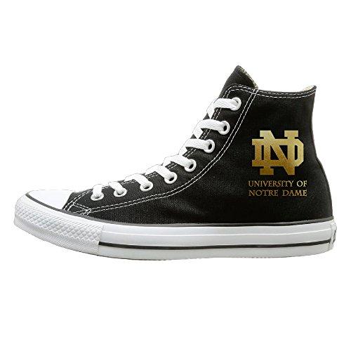 Price comparison product image BI University Of Notre Dame Athletic Unisex Flat Canvas High Top SneakerFashion 38 Black
