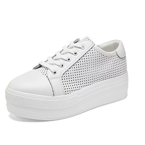 Sneakers Basse In Pelle Bianca Con Tacco Basso Da Donna Con Zeppa