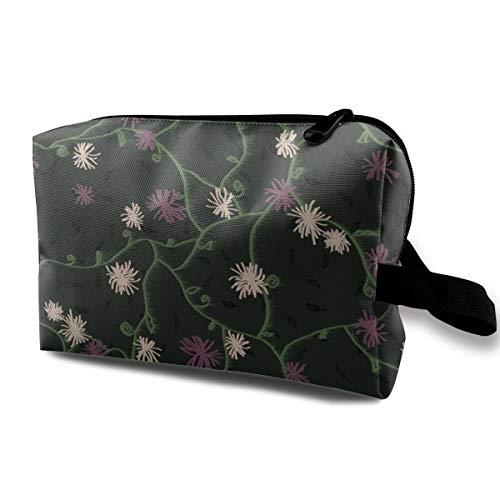 Cosmetic bag for purse,Strawflower Feedsack Danse Macabre_1943,Oxford cloth Colourful Bag Mini Travel