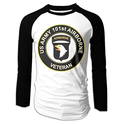 Hertyy US Army Veteran 101st Airborne Division Men's Long-Sleeve Cotton T-Shirt Black ()