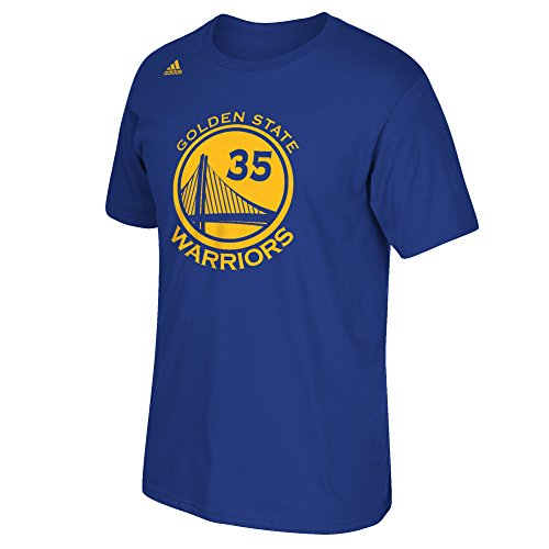 NBA Golden State Warriors Kevin Durant #35 Men's Replica Name & Number Short Sleeve Go-To Tee, Large, Blue
