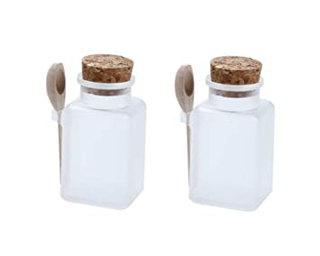 f5854308acf1 Amazon.com: 2Pcs Empty Square Frosted Plastic Storage Container ...