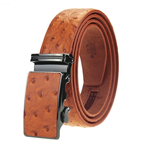 Men's Dress Leather Belt Tan Ostrich Embossed with Ratchet Automatic Buckle 45