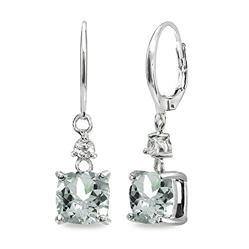 Sterling Silver Light Aqumarine & White Topaz 7mm Cushion-cut Dangle Leverback ()