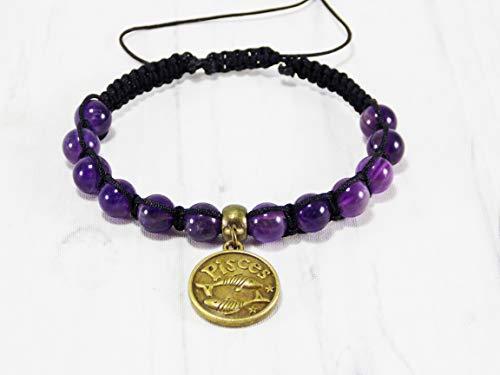 HANDMADE Pisces bracelets Amethyst February zodiac sign jewelry birthday gifts purple