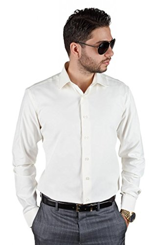 AZAR MAN Tailored Slim Fit Men's Unique Color Dress Shirt Spread Collar (Large 16, Ivory Off - Mens Ivory Shirt