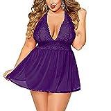 Dimanul Sexy Lingerie Women,Babydoll Teddy Underwear Lace Babydoll Lingerie Set Temptation Sleepwear Plus Size Open Back (F, L)
