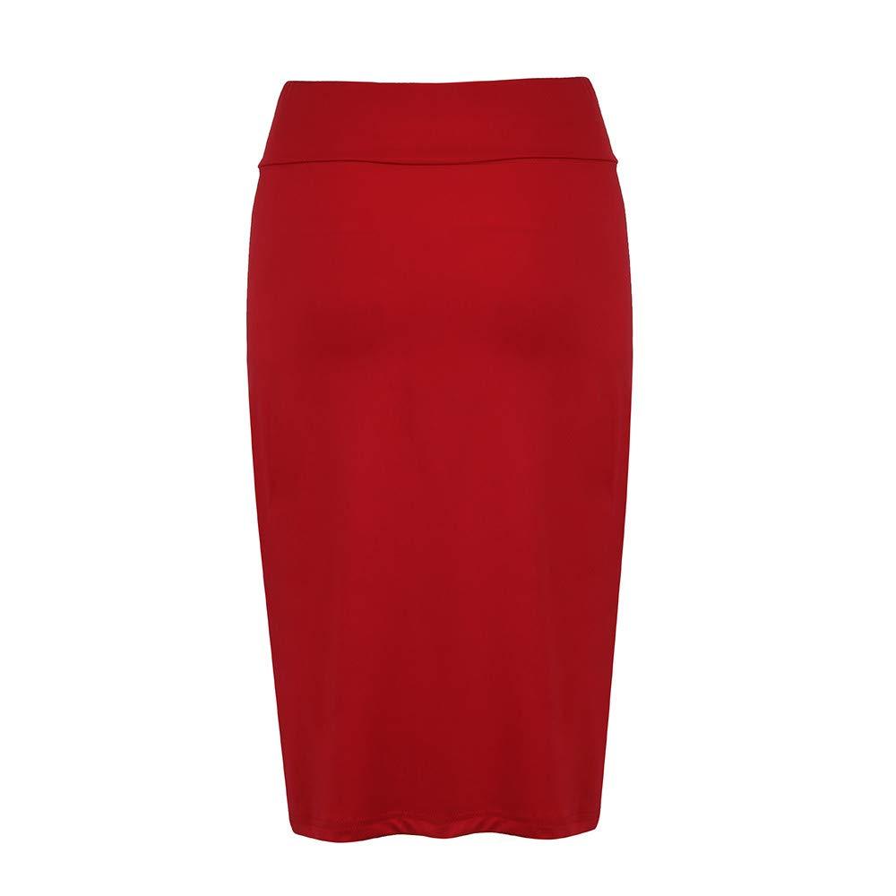 UOFOCO Fashion Solid High Elastic Stretchy Skirt Women Ladies Pencil Plain Bodycon Skirt Red
