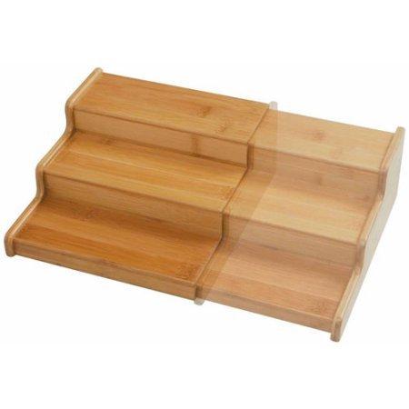 Seville Classics Kitchen 3-Tier Expandable Bamboo Spice Rack Organizer, (Expandable Media Rack)