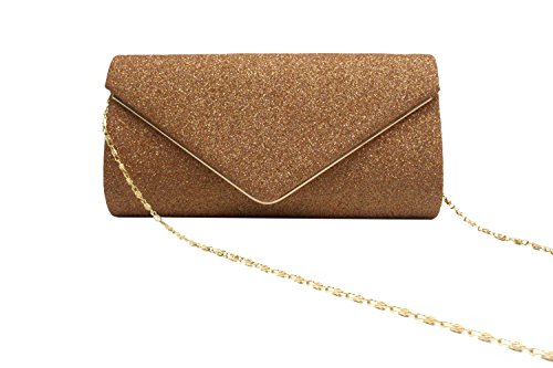 Clutch Women's Purse Evening Flapped Bag Envelope Apricot Bling Shining Chain Shoulder Bag wwTptfrq
