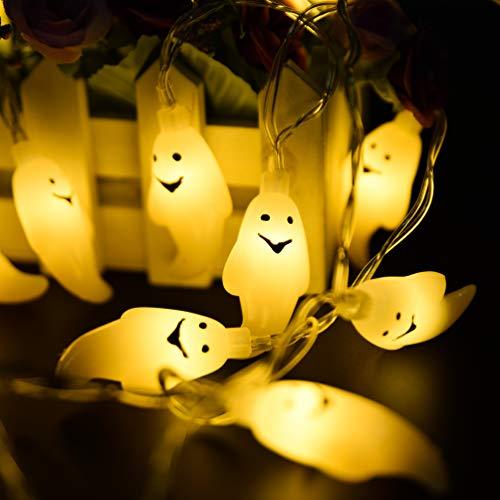 HOMOR Halloween Ghost String Lights, 20 LEDs Battery Powered Halloween String Lights Flashing Mode Fairy String Lights Halloween Decoration Outdoor Home Garden (8.6ft WarmWhite)
