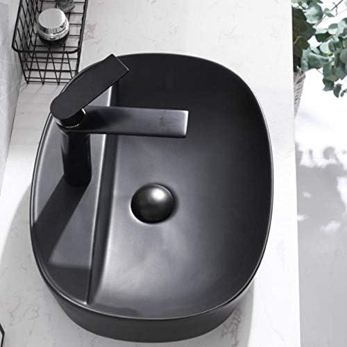 セラミック洗面器 北欧上記カウンター浴室カウンター洗面シンクの洗面台のシンクの近代 バスルームキャビネットシンク (色 : Black, Size : 49.5x37.5x11.5cm)