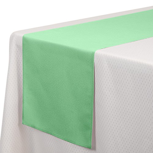 VEEYOO 1 Piece 14x108 inch Polyester Table Runner for Restaurant Kitchen Dining Wedding Party Banquet Events, Mint Green