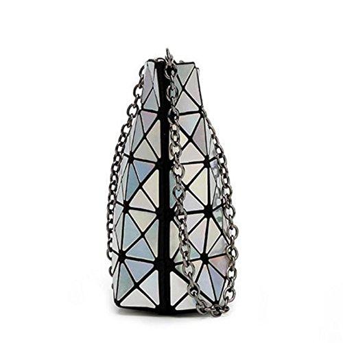 PXUDB 2018 Frauen Mode Scherbe Rhombus Design Hologramm Geometrische Schultertasche PU Einkaufstasche Kette Taschen Abendtasche Blue
