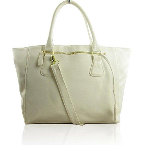 Xardi Londra grande borsa a tracolla in ecopelle da donna Tote ufficio lavoro Hobo White