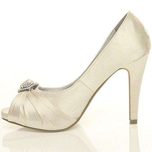 Damen Hoher Absatz Abschlussball Abend Hochzeit Braut Peep Toe Plateauschuhe Sandalen Größe Elfenbein