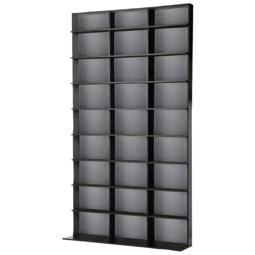 Atlantic Elite Media Storage Cabinet - Large Tower, Stores 630 Blu-Rays, 531DVDs or 837CDs with 9 Fixed Shelves, PN35435725 in Black