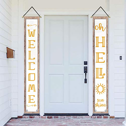 AVOIN Hello Sunshine Hanging Banner Flag Welcome Quote Decoration, Seasonal Porch Sign for Yard Indoor Outdoor Party 12 x 72 Inch