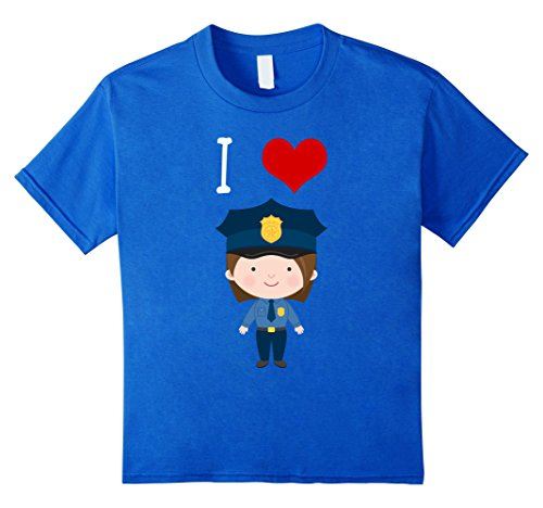 Kids I Love Police Woman T Shirt for Little Girls and Toddlers 6 Royal Blue (Girls Police Outfit)
