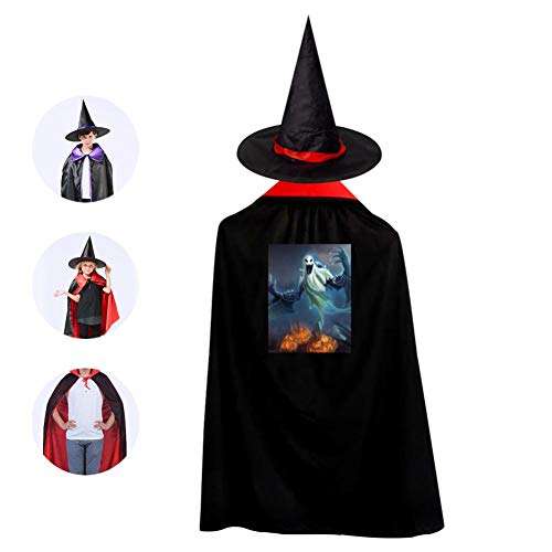 Tnilsk Kids Fantasy Halloween Pumpkins Ghost Halloween Cloak with Hat Reversible Witch Christmas Party Robe Cosplay Costume]()