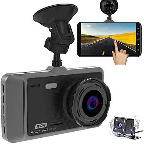 Dash Cam, 1080P Front and Rear Dual Dash Camera with Full HD 4 LCD Screen, 170 Wide Angle Lens Dashboard Camera with G-Sensor, Loop Recording, Rear View and Motion Detection
