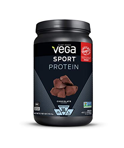 Vega Sport Protein Powder Chocolate (14 servings, 21.7 oz) - Plant-Based Vegan Protein Powder, BCAAs, Amino Acid, tart cherry, Non Dairy, Gluten Free, Non GMO (Packaging May Vary)