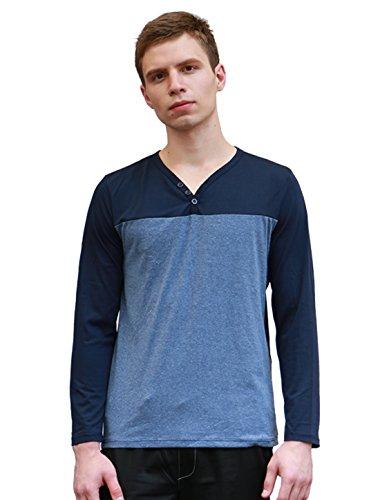 Allegra K Men V-Neck Color Block Long Sleeves Paneled T-shirt Blue L
