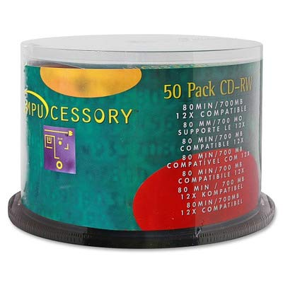 Compucessory Products - CD-RW, Branded Surface, 700MB/80 Minute Cap, 12X Speed, 50/PK - Sold as 1 PK - Premium quality CD-RW has a branded surface, 700MB/80 minute capacity and 12X write speed. Record, delete and rewrite.