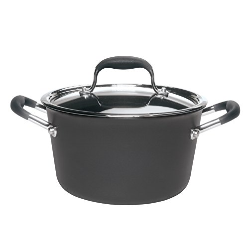 Anolon 82032 Advanced Hard Anodized Nonstick Sauce Pan/Saucepan with Lid, 4.5 Quart, Gray (Advanced 4 Qt Covered Sauce)
