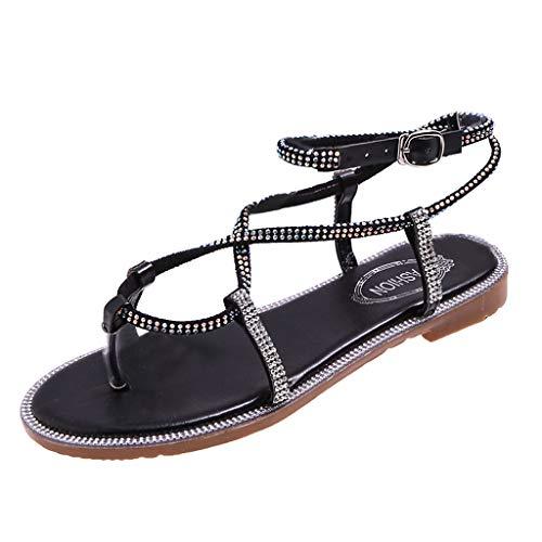 YKARITIANNA Women's Platform Thick Summer Open Toe Shoes Crystal Roman Casual Sandals 2019 Summer Black ()