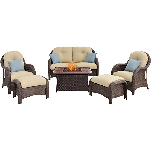Hanover NEWPT6PCFP-CRM-WG 6 Piece Newport Woven Seating Set in Cream with Fire Pit Table (Deep Seating Fire Pit Table)