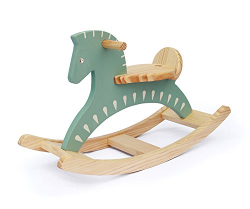 WOODSTUDIOALP Wooden Rocking Horse 100% Handmade (Retro Sky) by WOODSTUDIOALP