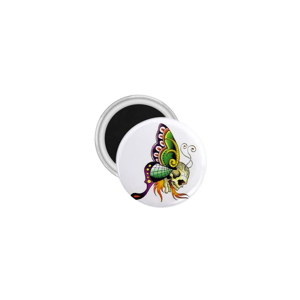 Tattoo Butterfly Skull Art Fridge Souvenir Magnet 2.25